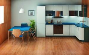3-mobila pe colt bucatarie cu frigiderul amplasat in extremitatea laturii lungi