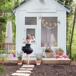 3-model casuta de joaca pentru copii alba din lemn in gradina casei
