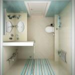 3-model de configurare a unei bai mici de apartament cu cabina de dus