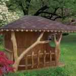 3-model de foisor rustic construit din lemn si bucati de copac