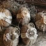 3-model oua vintage decorate cu sfoara si dantela pentru masa de Paste
