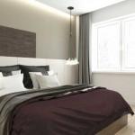 3-pat alb cu asternuturi gri si aubergine in amenajarea unui dormitor modern de 10 mp
