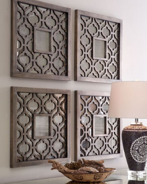 patru panouri traforate din lemn decor perete