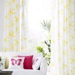3-perdele albe cu imprimeu floral galben decor de vara pentru ferestrele din living