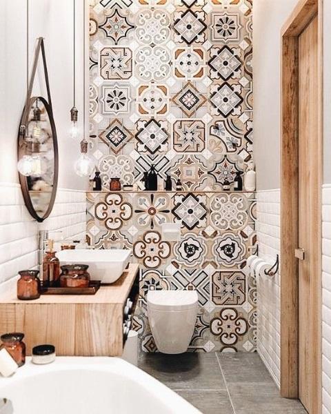 perete accent baie moderna faianta decorativa patchwork