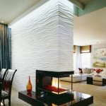 3-perete de accent living cu semineu placat cu panouri decorative 3D
