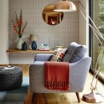 3-perete de accent living decorat cu tapet cu imprimeu geometric