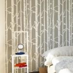 3-perete dormitor finisat cu sablon decorativ Birch Forrest StenCilit