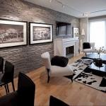 3-perete living modern finisat cu piatra decorativa gri