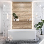 3-perete placat cu lemn cada ovala baie minimalista frumoasa
