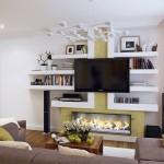 3-polite din gips carton decor perete ansamblu tv living modern