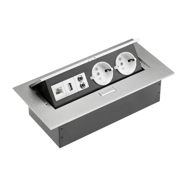 priza incastrabila blat dreptunghiulara cu 2 USB port audio si port LAN