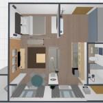 3-propunere de reconfigurare a spatiului in interiorul unei garsoniere de 45 mp