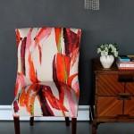 3-scaun vechi imbracat in tapiterie noua moderna si colorata