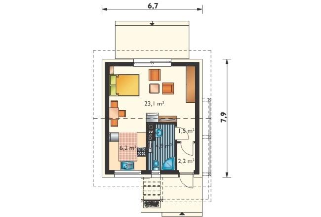 3-schita compartimentare interioara casa mica 37 mp tip garsoniera