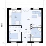3-schita plan compartimentare interioara proiect casa de 44 mp