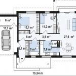 3-schita plan compartimentare interioara proiect casa fara etaj cu garaj si suprafata locuibila 80 mp