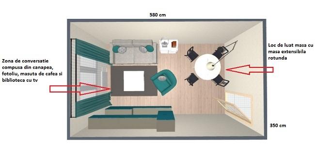 3-schita varianta amenajare living dreptunghiular de 20 mp cu loc de luat masa