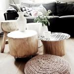 3-set de masute din lemn confectionate din busteni decor living