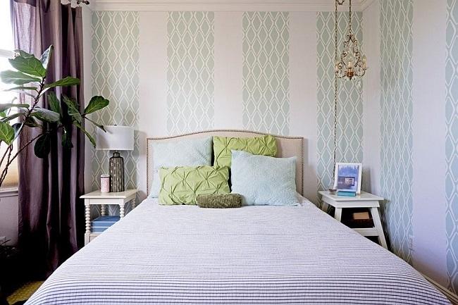 3-tapet aplicat pe peretii unui dormitor modern cu accente scandinave