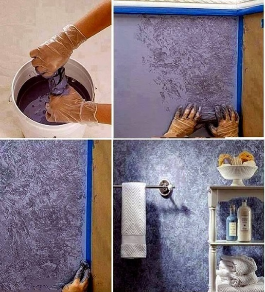 3-tehnica decorativa perete cu ajutorul unei carpe inmuiate in vopsea