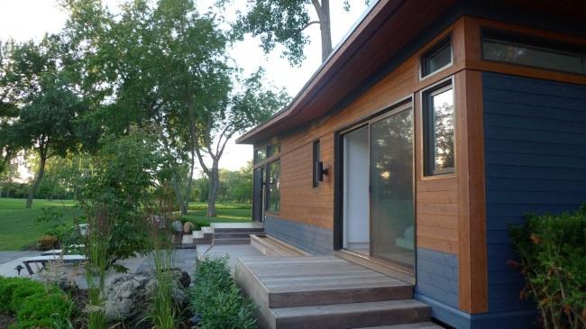3-trepte din lemn acces casa moderna compacta 44 mp