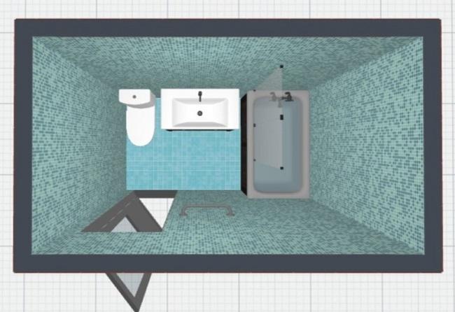 3-varianta de amenajare a unei bai de 3 mp de forma dreptunghiulara