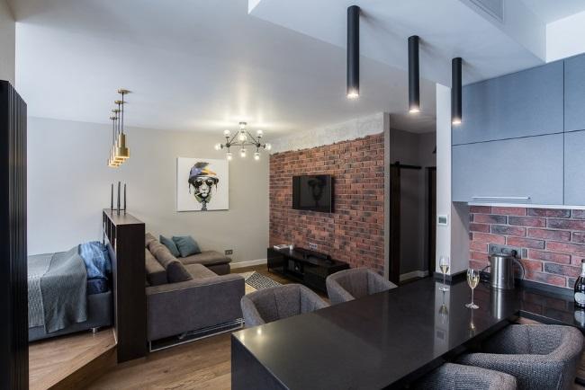 3-vedere din bucatarie spre living si dormitor open space