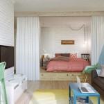 3-vedere din living in dormitor open space apartament mic 45 mp