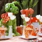 4-aranjament decorativ verde si portocaliu pentru masa de Pasti