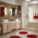 4-baie moderna decorata in alb si bej accente cromatice culoare rosie