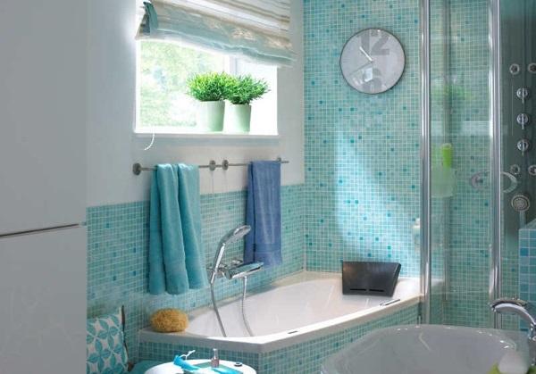 4-baie moderna placata cu mozaic turcoaz