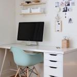 4-birou alb compact cu scaun bleu cu design retro amenajare camera elev