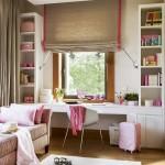 4-birou de lucru amenajat in fata ferestrei din camera unei fetite