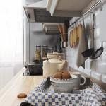 4-blat de lucru lemn natur si faianta imitatie caramida decor bucatarie alba stil scandinav