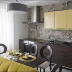 4-bucatarie moderna cu mobila wenge si galben mustar