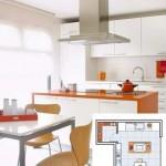 4-bucatarie moderna de 9 mp dotata cu mobila in alb si portocaliu