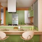 4-bucatarie moderna open space amenajata in verde pal si lemn natur