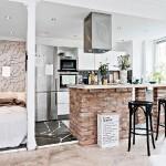 4-bucatarie si dormitor open space apartament 42 mp amenajat in stil scandinav