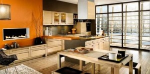 4-bucatarie si living casa moderna amenajate in plan deschis
