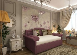 4-camera eleganta cu tapet si mobilier clasic pentru o fetita