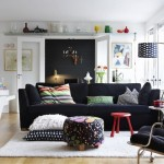 4-canapea neagra si perete negru decor living amenajat in stil scandinav