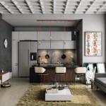 4-canapea si mobila bucatarie in ton cu peretii gri ai incaperii