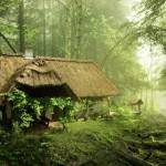 4-casa taraneasca veche cu acoperis de stuf in peisaj de poveste