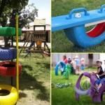 4-cauciucuri vechi transformate in elementele unui parc de distractii pentru copii