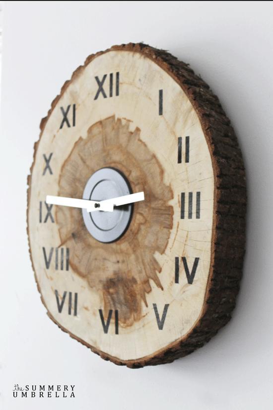 ceas rustic de perete felie lemn