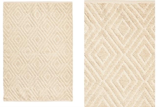 4-covor din lana si bumbac culoarea untului cu romburi in relief magazin HandM Home