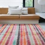 4-covor rustic din lana cu multe dungi colorate