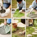 4-dale de piatra pentru aleile din gradina in formade frunza de brusture