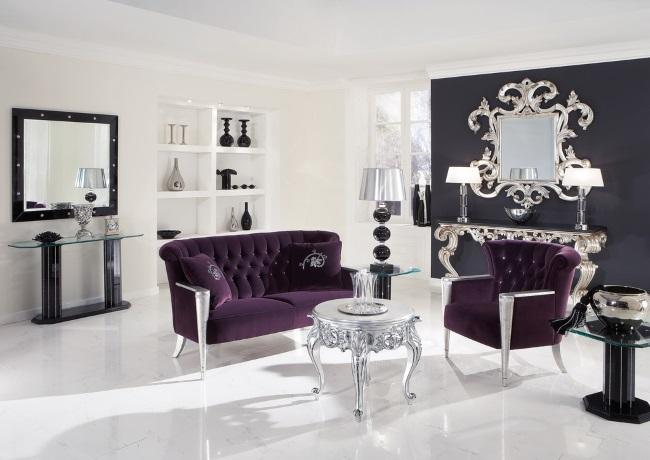 4-decor elegant si rafinat in alb negru cu accente mov potrivit zodiei Rac